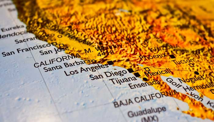 Los Angeles auf der Landkarte